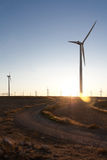 The sunset in a wind farm. In La Muela, Zaragoza Royalty Free Stock Image