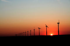 Sunset Wind Generators Stock Photography