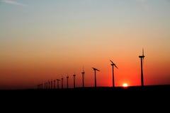 Sunset Wind Generators Stock Photography