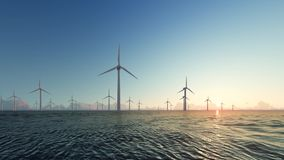 Sunset wind generators of electricity on water stock video footage