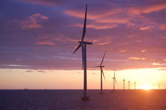 Sunset at Wind park Roedsand 2 DK Royalty Free Stock Image