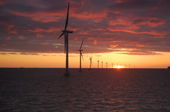 Sunset at Wind park Roedsand 2 DK Royalty Free Stock Photography