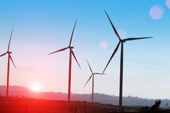 Wind Turbine producing alternative energy. Sunset of wind Turbine producing alternative energy Stock Photography