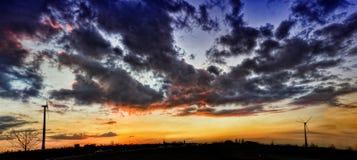 Sunset Wind Turbine stock photo