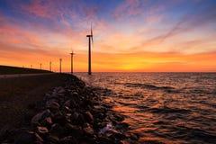 Sunset wind turbines Royalty Free Stock Image