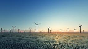 Sunset Wind Turbines on blue sea 3D render Royalty Free Stock Photos