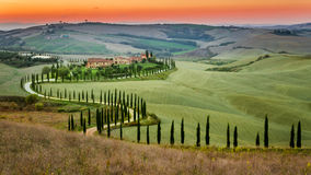 Sunset and winding road with cypresses in Tuscany Stock Photography