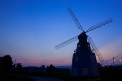 Sunset and windmill Royalty Free Stock Photography