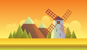 Sunset Windmill and Field. Nice flat vector illustration of an old mill and a golden wheat field. Orange sunset and wooded mountains on the horizon. EPS10 Vector Illustration