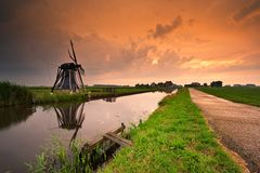 Sunset windmill landscape Stock Photos