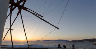 Sunset from the windmills of Mykonos,Greece Stock Photos