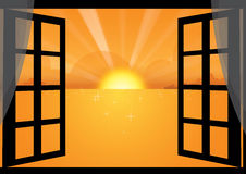 sunset through the window Royalty Free Stock Photography