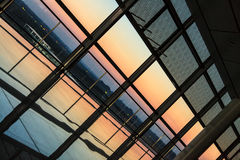 Sunset through a window at an airport Stock Image