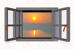 Sunset from a window Royalty Free Stock Photography