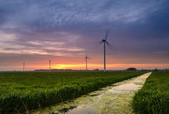 Sunset at the windpark. Evening falls over the meadows but the wind turbines keep doing their job Royalty Free Stock Image