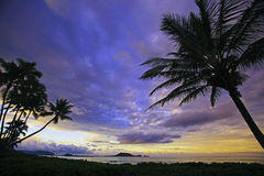 Sunset on the windward side of oahu Stock Image