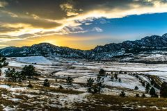 Sunset in Boulder, Colorado. Sunset in the winter in Boulder, Colorado Royalty Free Stock Image