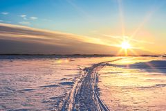 Sunset in winter. royalty free stock image