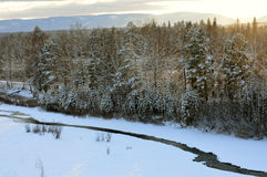 Sunset in the winter forest. The river flows under the ice. Stock Images