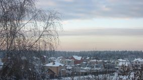 Sunset in the winter forest Russia stock video