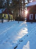 Sunset in winter. House. Sunset in winter season, private wooden house Stock Photo