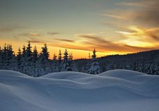 Winter in Jizerske Mountains Stock Photography