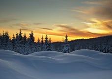 Winter in Jizerske Mountains. Sunset in winter Jizerske Mountains, Czech Republic Stock Photography