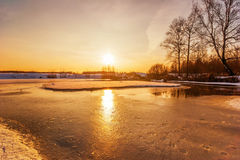 Sunset on the winter lake Stock Photo