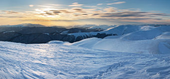 Sunset in winter mountain. Stock Image