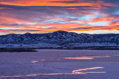 Sunset Winter Mountain Lake Stock Image