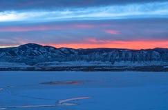 Sunset Winter Mountain Lake Stock Photos