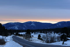 Sunset at Winter Mountain Village Stock Photography