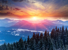 Sunset in winter mountains Royalty Free Stock Images