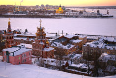 Sunset in winter Nizhny Novgorod Stock Photography