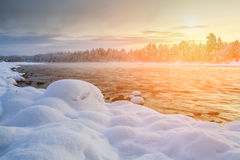 Sunset on the winter river. Royalty Free Stock Image