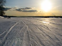 Sunset in the winter Stock Photography