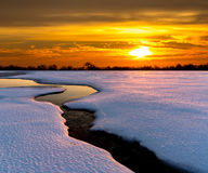 Sunset in winter steppe Stock Photos