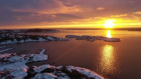 Sunset in winter in Sweden. Drone footage stock video