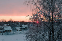 Sunset in the winter time in finland. Royalty Free Stock Image