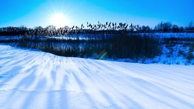 Sunset in winter. Winter landscape. stock video footage