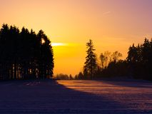 Sunset in wintertime Royalty Free Stock Photography