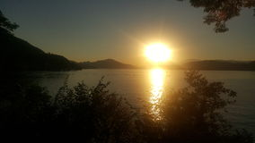 Sunset on Woerthersee in Austria Stock Photography