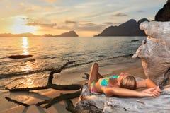 Sunset woman stock photo