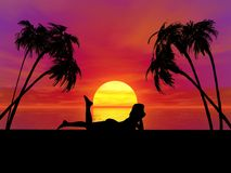 Sunset woman royalty free stock photo
