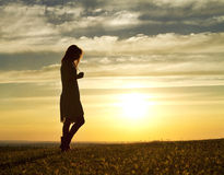 Sunset Woman Stock Images