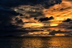 Sunset on wonderful Turquoise Tropical Paradise background Stock Photos
