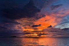Sunset on wonderful Turquoise Tropical Paradise background Royalty Free Stock Photography