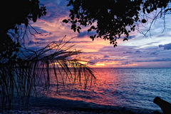 Sunset on wonderful Turquoise Tropical Paradise background Stock Photo