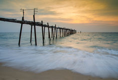 Sunset with wooden bridge, andaman Thailand Royalty Free Stock Photos