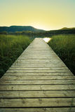 Sunset on the wooden pier of Lake Banyoles Stock Photography